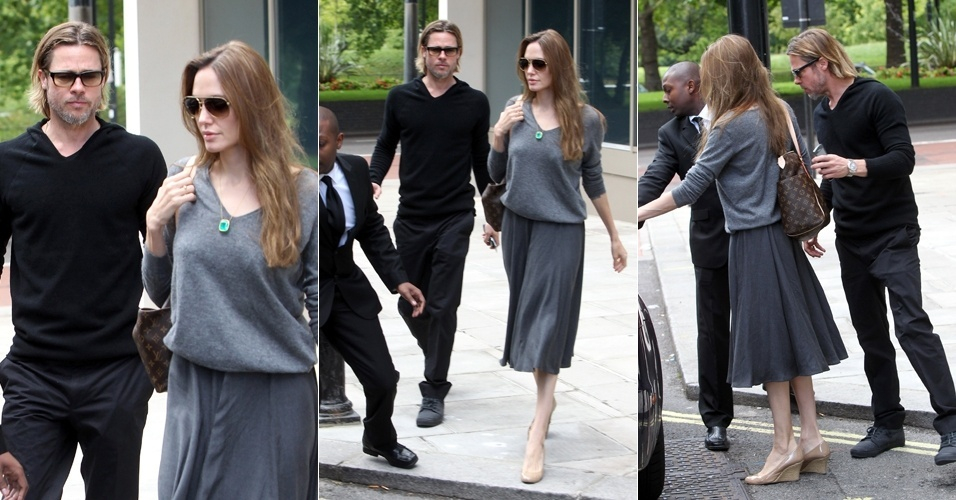 O casal Brad Pitt e Angelina Jolie deixam um hotel em Londres, onde passaram a noite (18/9/11)