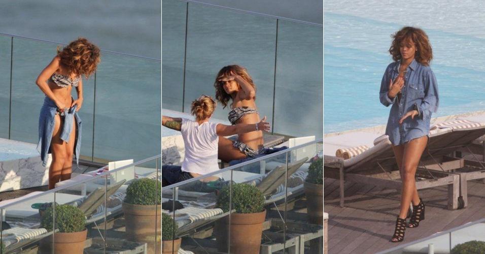 Depois de ir à praia de Ipanema, a cantora Rihanna aproveita a piscina do Hotel Fasano, onde está hospedada, no Rio. Rihanna se apresenta no Rock in Rio no dia 23/9 (20/9/11)