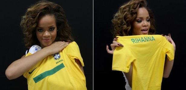 Rihanna segura camisa da seleção brasileira com seu nome