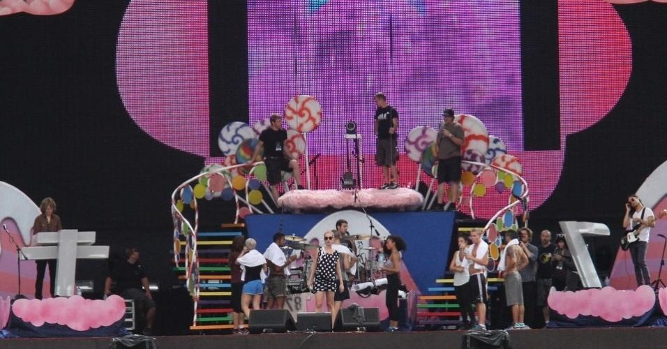 A cantora Katy Perry durante passagem de show no palco do Rock In Rio. Perry se apresenta no festival na noite desta sexta-feira (23) (22/9/11)