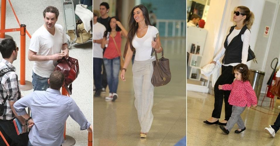 Dan Stulbach, Nicole Bahls e Ingrid Guimarães circulam pelo aeroporto Santos Dumont (24/9/11)