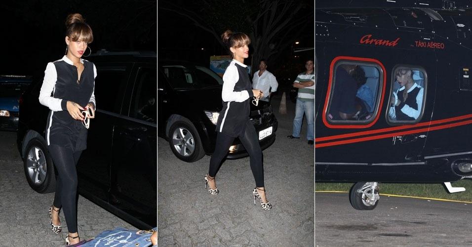 Rihanna embarca em helicóptero na Lagoa Rodrigo de Freitas em direção ao Rock in Rio (23/9/11)