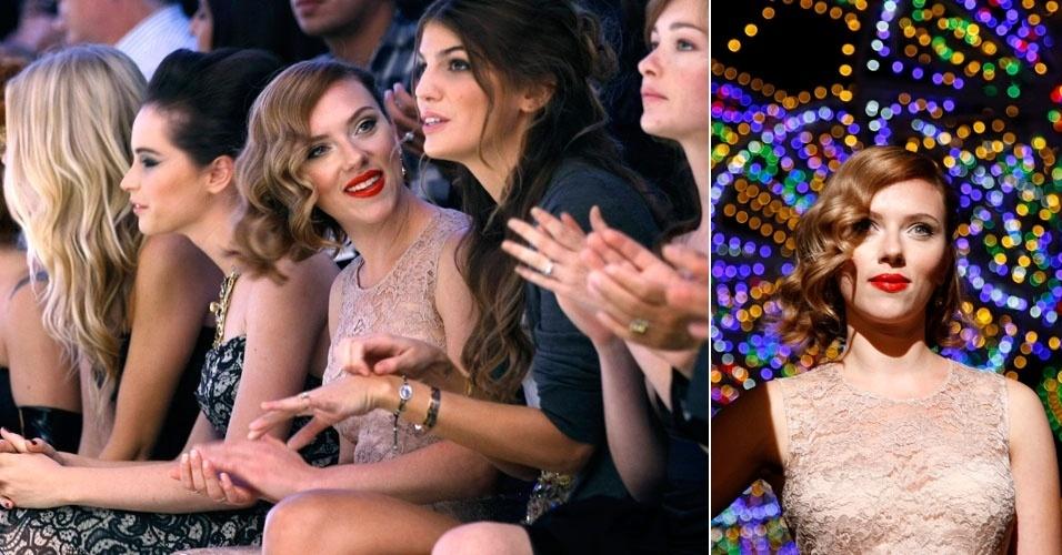 Scarlett Johansson assiste desfile da grife Dolce & Gabbana na semana de moda de Milão (25/9/11)
