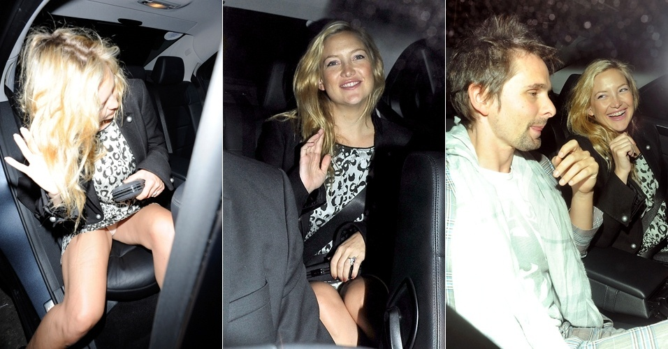 A atriz Kate Hudson vai com o namorado, Matt Bellamy, a um jantar organizado pelo dono da rede de lojas Top Shop, Sir Philip Green, e sua filha, Chloe, em Londres (22/9/11)