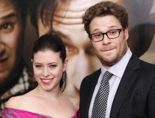 """Seth Rogen e Lauren Miller na pré-estreia do filme """"50/50"""", em Nova York (26/9/11)"""
