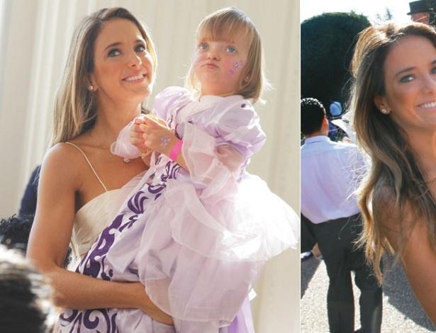 Ticiane Pinheiro e sua filha Rafaella durante festa de coroação da Disney (outubro/2011)