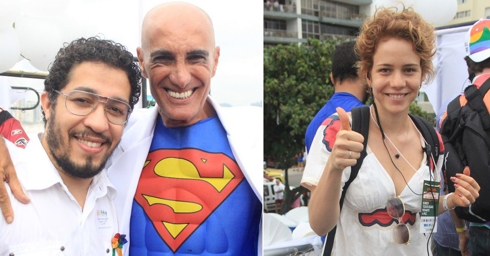 Jean Wyllys, Amin Khader e Leandra Leal participam da parada gay no Rio de Janeiro (9/10/11)