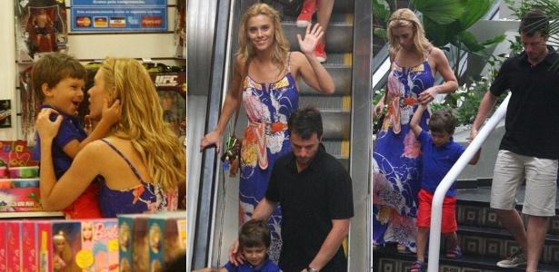 Carolina Dieckmann passeia com o filho José e o marido Tiago Worcman em shopping carioca (12/10/2011)