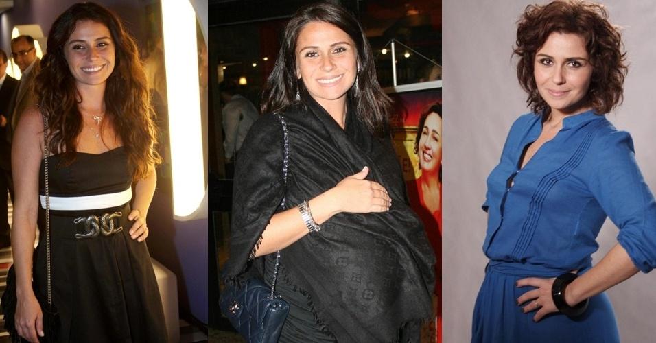 Giovanna Antonelli em três fases: antes de engravidar em novembro de 2009, durante a gravidez, em setembro de 2010 e agora, em outubro de 2011