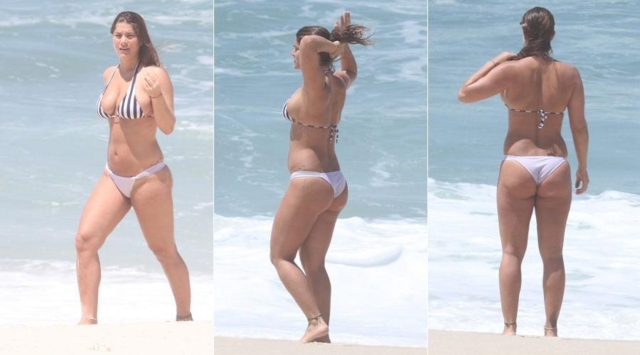A atriz Priscila Fantin vai à praia da Reserva, na zona oeste carioca (24/10/2011)
