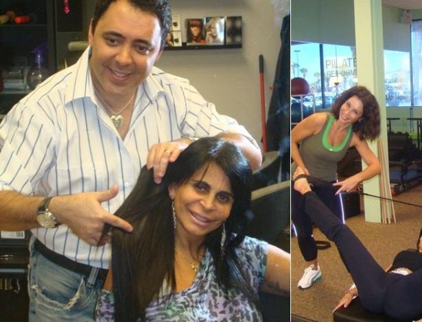 Nos Estados Unidos, o cabeleireiro Julinho do Carmo coloca apliques na cantora Gretchen (25/10/2011)