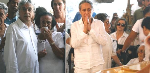 Caetano Veloso, Maria Bethânia e Dona Canô, que tem 104 anos, compareceram à missa que antecedeu o sepultamento do corpo de Eunice Souza de Oliveira, irmã mais velha da família Veloso (27/10/2011)