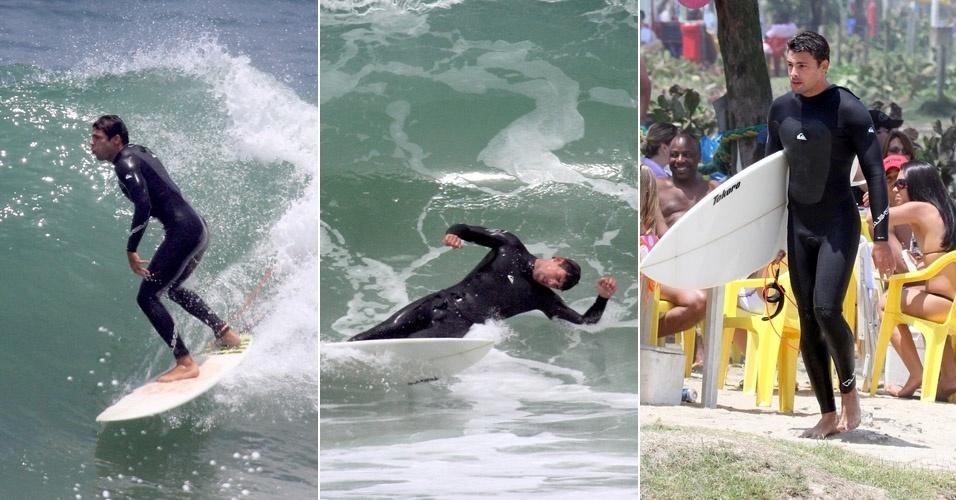 Cauã Reymond surfa no Recreio dos Bandeirantes (29/10/2011)