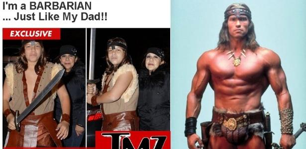 Joseph Baena (à esquerda), 14, filho de Arnold Schwarzenegger e sua ex-empregada Patricia Baena, se vestiu de