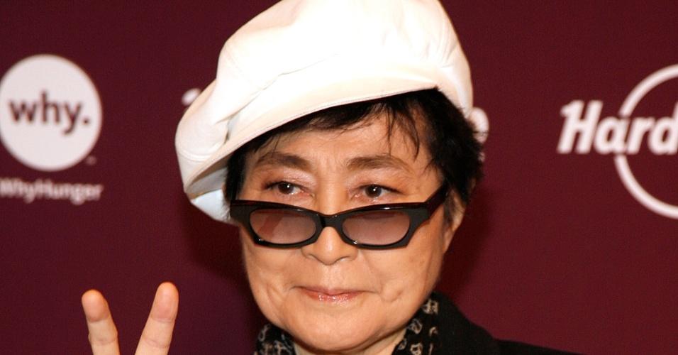Yoko Ono vai a evento em Nova York, Estados Unidos (01/11/2011)