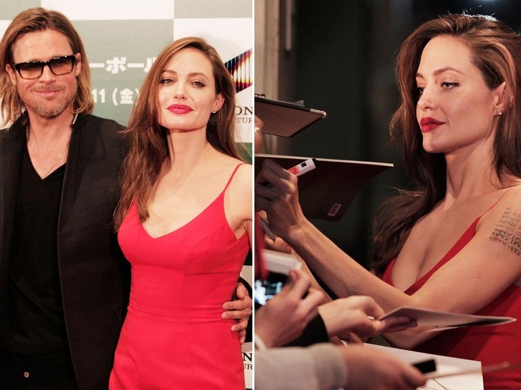O casal Brad Pitt e Angelina Jolie chega à première do filme