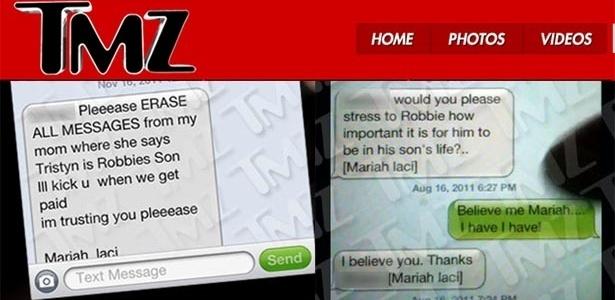 TMZ divulga mensagens trocadas entre mãe dos suposto filho do Bieber e um amigo (17/11/11)