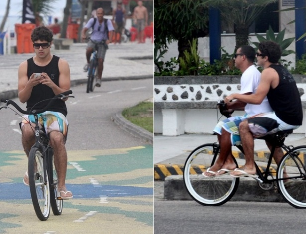 De bicicleta, Caio Castro dá carona a amigo