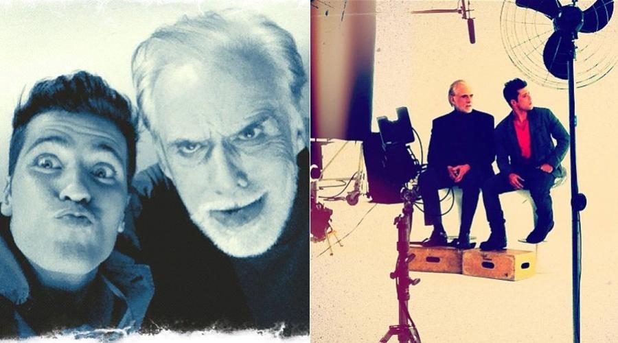 Bruno Gagliasso e Francisco Cuoco fazem caretas em bastidores de campanha publicitária (9/12/11)