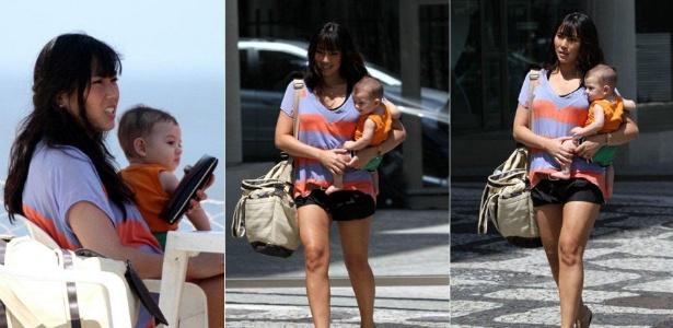 Daniele Suzuki passeia com o filho pelo Baixo Bebê, no Leblon (13/12/11)