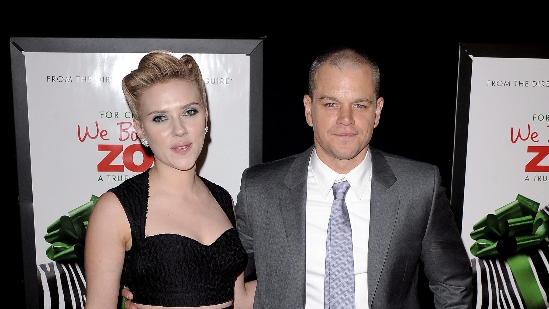 Sorridentes, Scarlett Johansson e Matt Damon vão à pré-estreia do filme