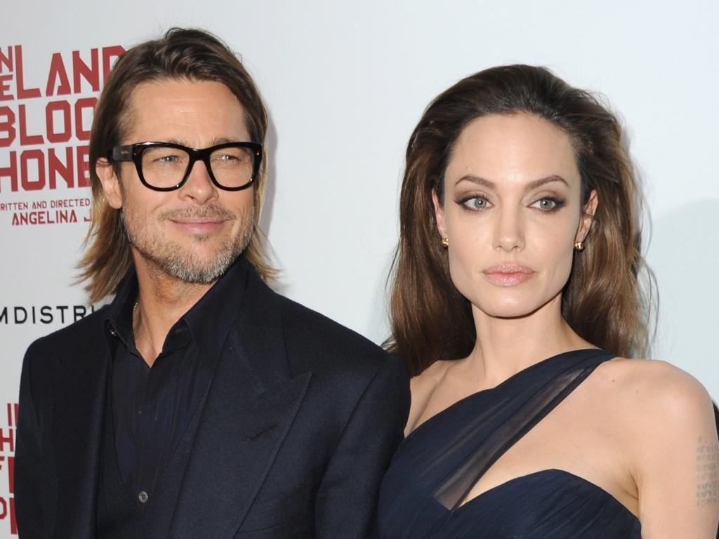 O ator Brad Pitt e a atriz Angelina Jolie na estreia de