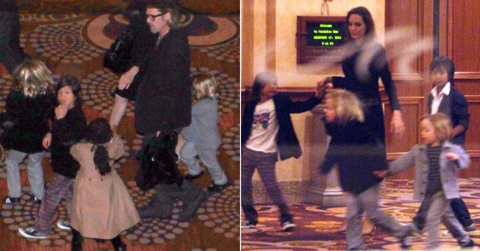 Brad Pitt comemora 48 anos ao lado da família em Las Vegas (18/12/11)