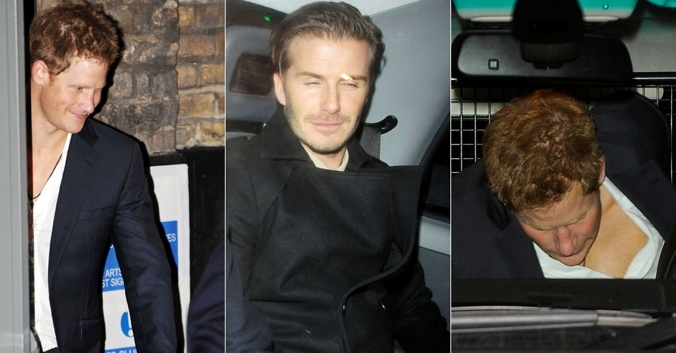 Prncipe Harry e David Beckham aproveitam noitada em Londres e saem bbados de pub (21/12/11)