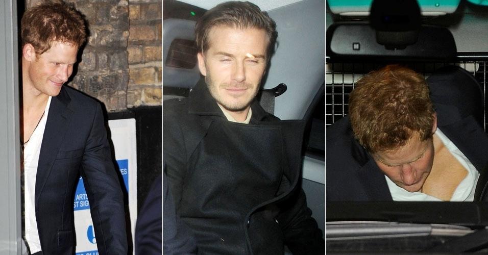 Príncipe Harry e David Beckham aproveitam noitada em Londres e saem bêbados de pub (21/12/11)