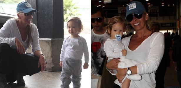 Adriane Galisteu chega com o filho Vittorio ao areoporto internacional de Guarulhos, em São Paulo (27/12/2011)