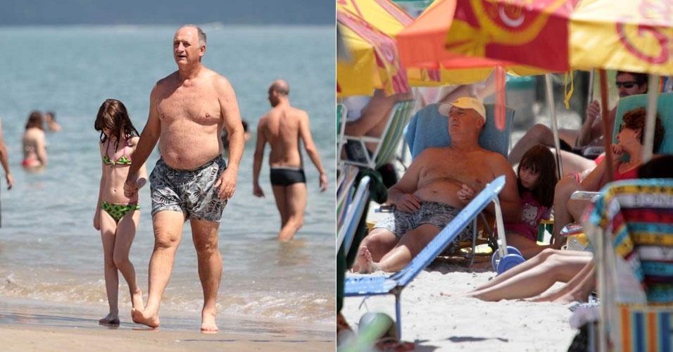 Felipão, técnico do Palmeiras, curte praia com a família em Florianópolis
