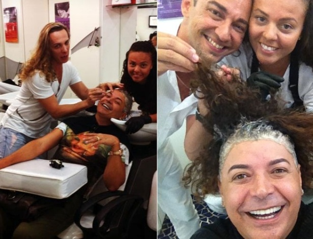 David Brazil retoca as madeixas em salão de beleza no Rio de Janeiro (30/12/2011)