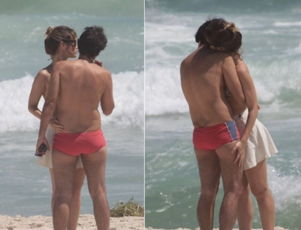 Juliana Didone e Bruno Mazzeo trocam carinhos em praia do Rio de Janeiro &#40;03/01/2012&#41;