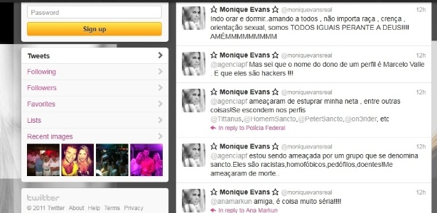 Página do Twitter de Moniqie Evans com ameaças de grupo desconhecido (03/01/2012)