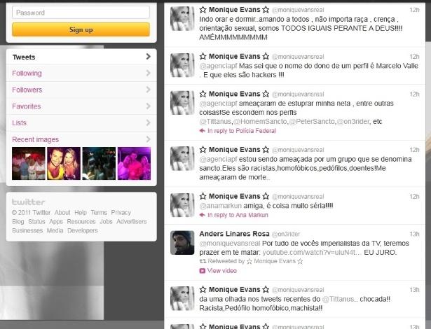 Página do Twitter de Moniqie Evans com amea�