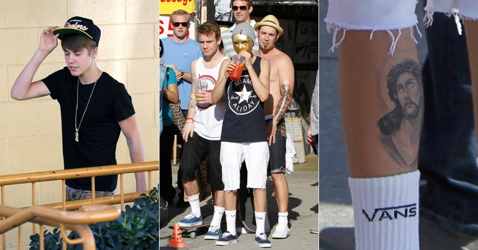O cantor Justin Bieber usa mscara dourada durante passeio em Venice Beach, na Califrnia (6/1/12)