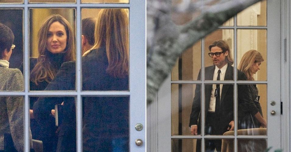 Angelina Jolie e Brad Pitt são fotografados no salão oval da Casa Branca, onde foram recebidos por Barack Obama (11/01/12)