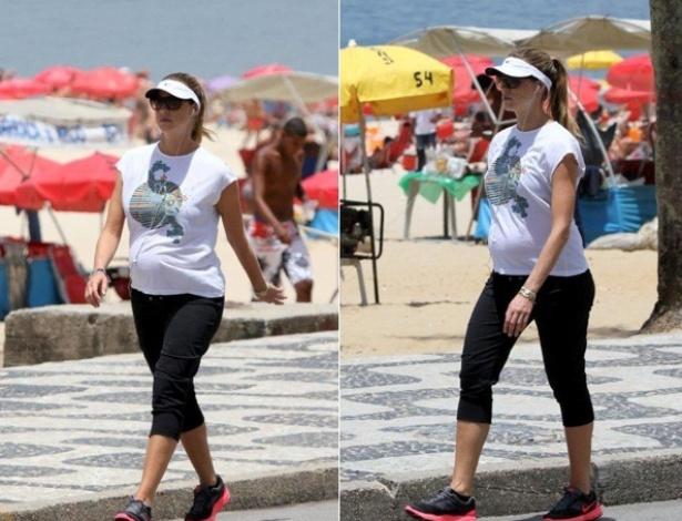 Grávida, Luana Piovani faz caminhada acompanhada da irmã no Rio de Janeiro (12/1/2012)