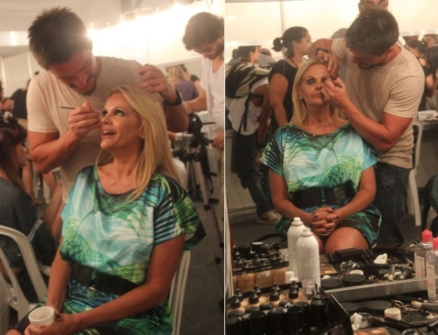 Monique Evans se prepara para subir na passarela da grife Lix, no Fashion Business, no Rio (12/1/12)