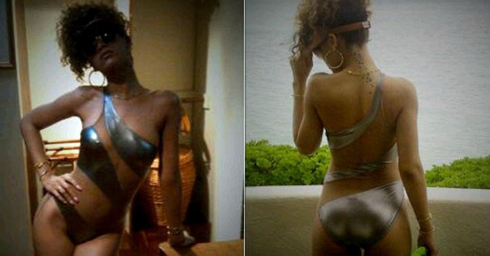 Rihanna exibe boa forma em um maiô prateado durante férias no Havaí (17/1/12)