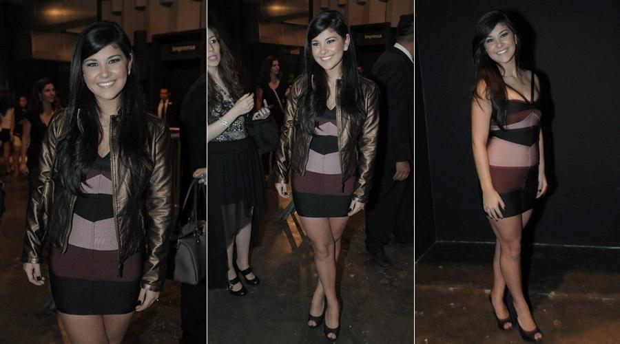 Luíza, que voltou do Canadá, circula pelo São Paulo Fashion Week (23/1/12)