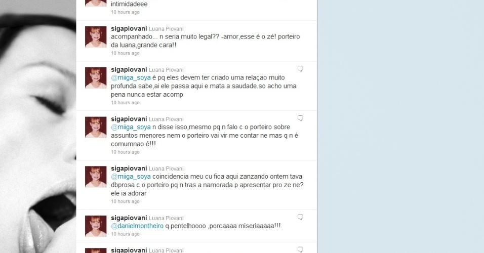 Twitter de Luana Piovani comentando a aparição do ex-namorado em seu prédio