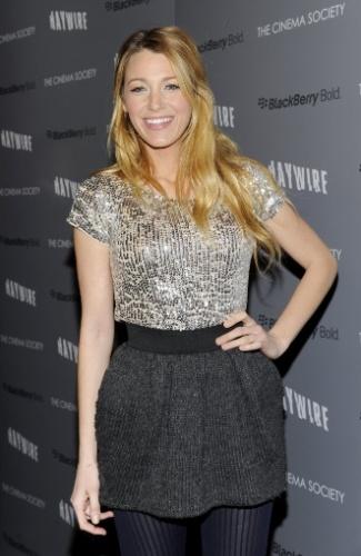 """Blake Lively em exibição do filme """"Haywire"""", em Nova York (18/1/12)"""