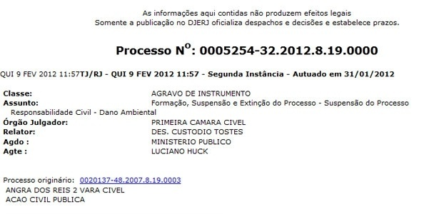 Luciano Huck consegue suspender ação na Justiça estadual (9/2/12)