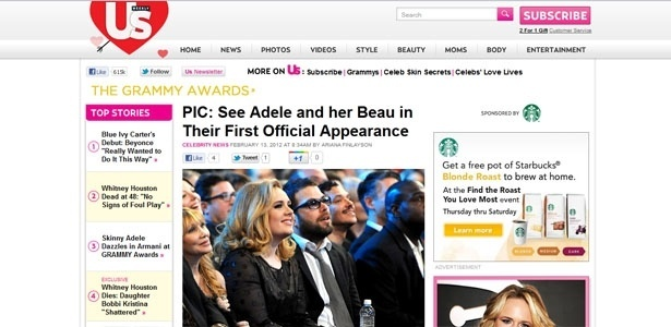 Adele e o namorado, Simon Konecki, no Grammy (12/2/12)