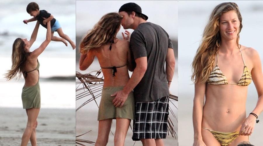 Gisele Bundchen brinca com o filho Benjamim e é beijada pelo marido Tom Brady em uma praia da Costa Rica, onde a família Bundchen-Brady passa férias (20/2/12)