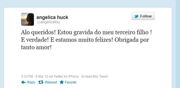Angélica confirma a terceira gravidez pelo Twitter (6/3/2012)