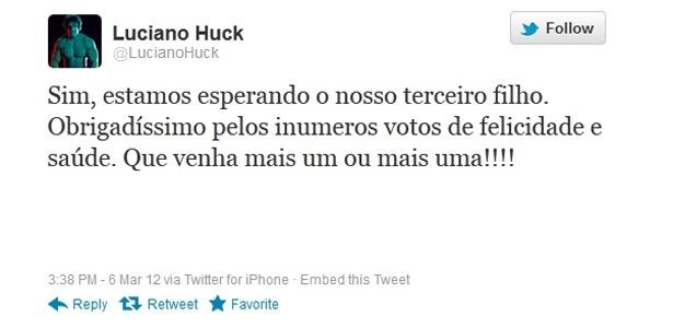 Luciano Huck confirma a gravidez da mulher, a apresentora Angélica, por meio do Twitter (6/3/2012)