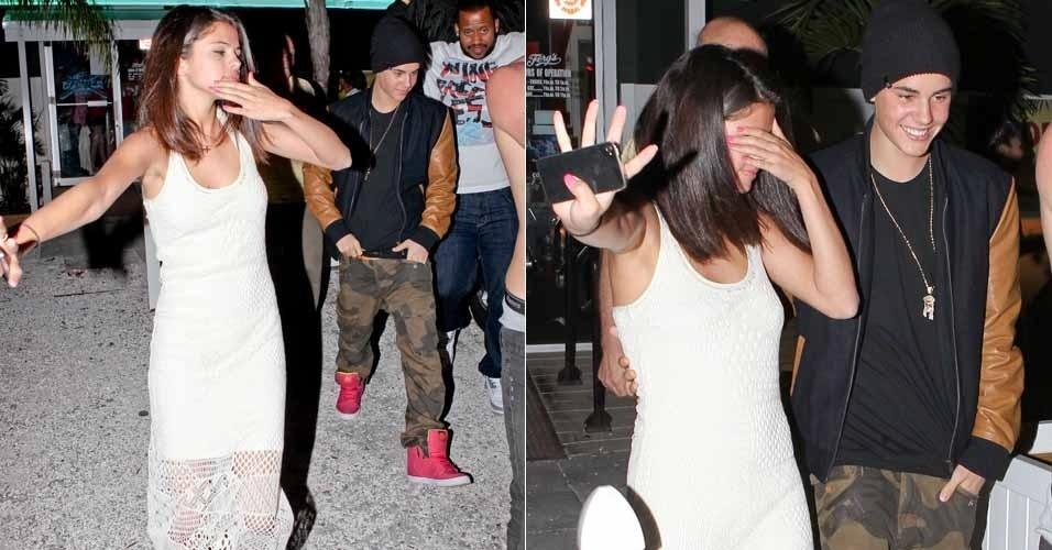 Selena Gomez e Justin Bieber são vistos saindo de um bar na Flórida. A cantora parecia bêbada, segundo informações da agência de fotos Grosby Group (11/3/12)