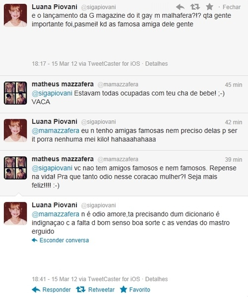 Briga de Luana Piovani e Matheus Mazzafera no Twitter (15/3/12)